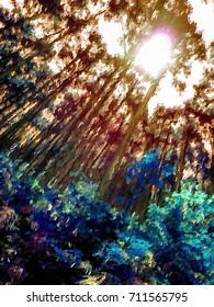 Expressionism Style Oil Painting; World Heritage Forest Kumano Kodo, Wakayama Prefecture, Japan, May, 2012