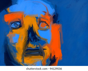 expressionist style digital painting of a human face with a restless expression