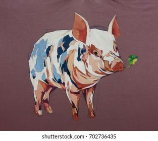 expressions cartoon pig acrylic oil closeup texture painting.