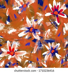 Expressive abstract floral seamless pattern with large daisy buds. Brush strokes oil painting. Hand drawn meadow flowers with lush foliage. Botanical illustration for fashion design, textile, fabric.