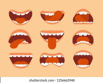 Expressive cartoon human mouth with tongue and teeth. set for making character faces