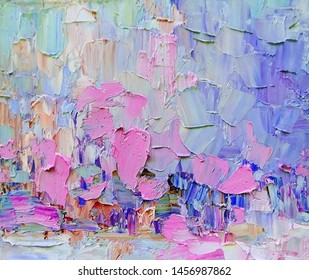 Expressive embossed paint on canvas, created using palette knife technique of oil painting. Primary colors: purple, white, turquoise, blue, pink, violet.