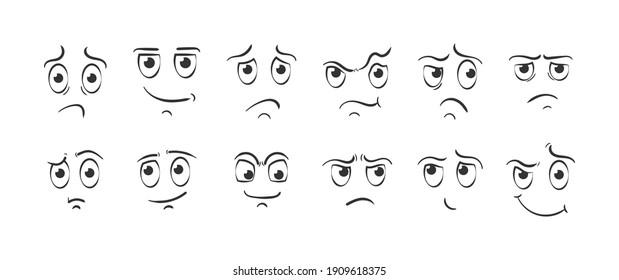 Expressive eyes and mouth, smiling, crying and surprised character face expressions. Set of cartoon face emotions on white background. Different facial expressions in doodle style.