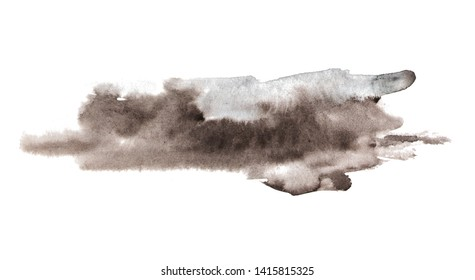 Expressive isolated watercolor background. Brown, grey shades on white.