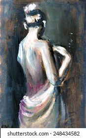 Expressive oil painting with woman figure illustration poster print interior decoration background wallpaper paper journal artwork impressionism