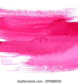 Expressive pink watercolor brush stroke. Hand painted artistic background