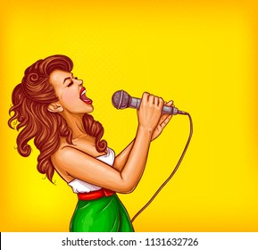 Expressive singing woman with microphone in hands pop art illustration with copyspace. Karaoke signer, musical band vocalist, pop star pin up portrait for party, concert or musical event ad