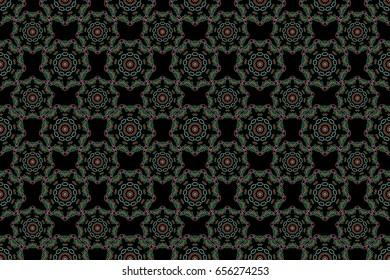 Exquisite baroque template in green and orange colors. Raster damask seamless pattern. Classical luxury old fashioned damask ornament, royal victorian seamless texture for printing, textile, wrapping.
