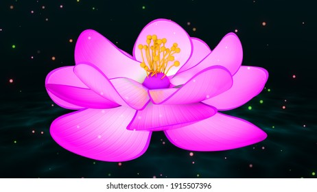 Exquisite Pink Blooming Flower Of Sleeping Beauty Water Lily On Water Ripples With Shiny Glitter Sparkle 3D Illustration