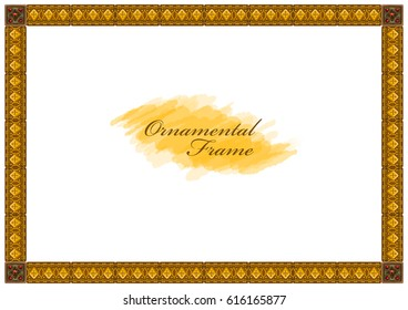 Exquisite wooden frame with carved ornaments on a white background