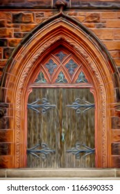 Exterior detail of urban church in New England: Gothic doorway of wood, ironwork, and stone with pointed arch, with digital oil-painting effect, for religious and architectural themes