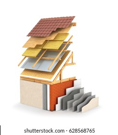 Exterior insulation and painting works, insulation of the roof. 3D illustration