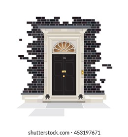 The exterior of Number 10 Downing Street. The official public residence of the UK Prime Minister since 1735.