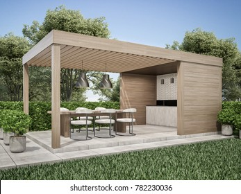 Exterior pergola dinning area in backyard 3D render