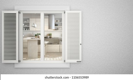 Exterior plaster wall with white window with shutters, showing interior minimalist wooden kitchen with island, blank background with copy space, architecture design concept, 3d illustration