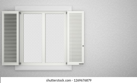 Exterior plaster wall with white window with shutters, showing editable transparent background interior, blank background with copy space, architecture design concept, 3d illustration