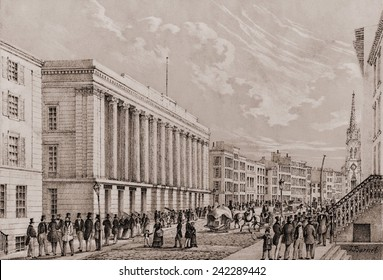 Exterior the Stock Exchange, New York City. Lithograph by John Borne after drawing by C. Autenrieth, Ca. 1850.
