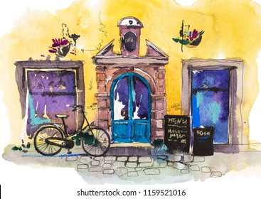 Exterior of vintage charming cafe terrace European retro restaurant Watercolor illustration.