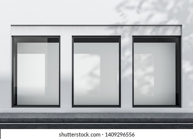 Exterior of white building with three vertical mock up posters in windows. Concept of advertising and marketing. 3d rendering