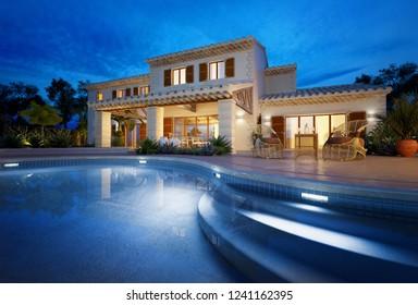 Außenansicht eines modernen Hauses mit Pool bei 3D-Darstellung der Abenddämmerung