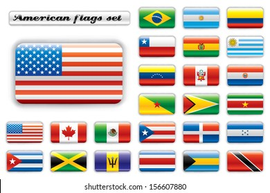 Extra glossy button flags. Big American set. 24 flags. Original size of USA flag included. JPEG version.