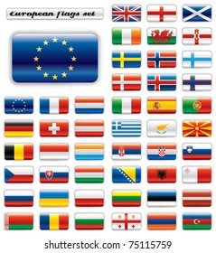 Extra glossy button flags. Big European set. 48 flags JPEG version. Original size of EU flag included.