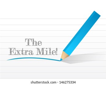 the extra mile sign written on a notepad illustration
