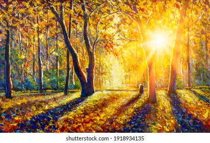 Extra Wide Panorama Of Gorgeous Autumn Forest  painting