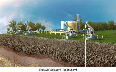Extraction of hydrocarbons. Transportation of hydrocarbons. 3D rendering