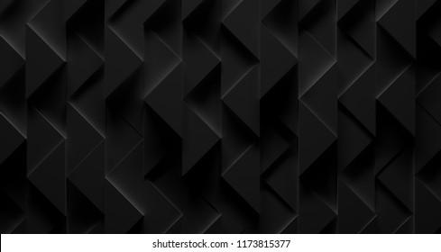 Extra-Dark Black Triangle Futuristic Installation (3D Illustration)