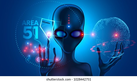 Extraterrestrial alien shows on the virtual map of the UFO crash site at area 51 in Nevada. The head of an alien with big eyes. Hands with long fingers. Extraterrestrial technology. Future concept.