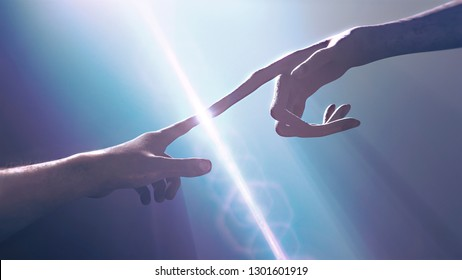 Extraterrestrial hand contact human hand - alien first contact  - artistic representation - 3d rendering