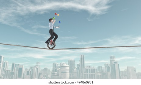Extreme business man riding unicycle on a rope and juggling with some balls in the same time over the city. This is a 3d render illustration