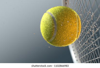 An extreme closeup slow motion action capture of a tennis ball striking a racquet with dirt particles emanating on a dark isolated background - 3D render