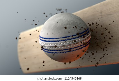 An extreme closeup slow motion action capture of a white cricket ball striking a wooden bat with dirt particles emanating on a dark isolated background - 3D render