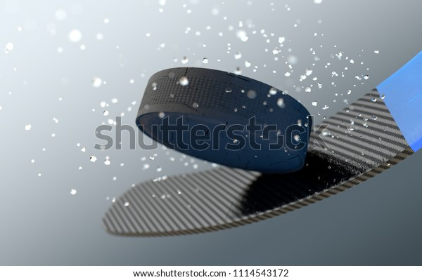 An extreme closeup slow motion action capture of a ice hockey puck striking a hockey stick with ice particles emanating on a dark isolated background - 3D render