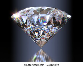 Extreme light dispersion in a portuguese cut diamond standing on its point, side view with reflection on gray background. Photo-realistic 3d computer-generated image