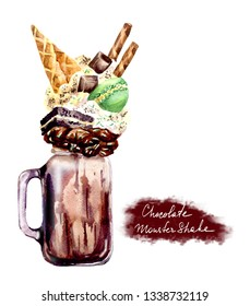 Extreme milkshake. Overshake. Freakshake.  Watwercolor Isolated image on white background. Crazy milk chocolate cocktail with sweets, waffle cone, macaroni, cookies. Food trend.