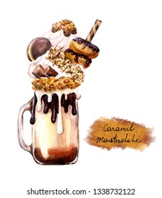 Extreme milkshake. Overshake. Freakshake.  Watwercolor Isolated image on white background. Crazy milk caramel cocktail  with sweets,  chocolate, cookies, popcorn. Food trend.
