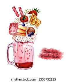 Extreme milkshake. Overshake. Freakshake.  Watwercolor Isolated image on white background. Crazy milk pink cocktail strawberry  with sweets, waffle, blueberry, biscuit, cookies. Food trend.
