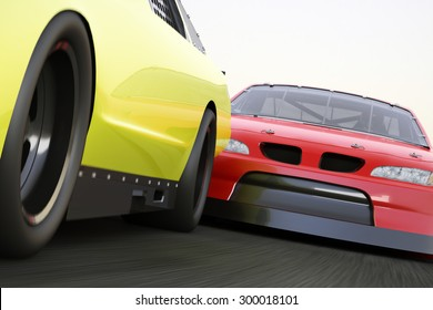 Extreme motorsports racing, race car competitively looking to pass.
