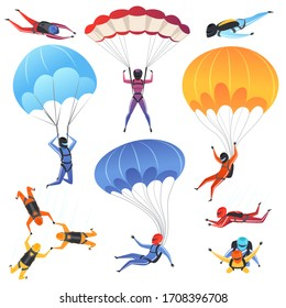 Extreme parachute sport. Adrenaline characters jumping paragliding and skydiving fly aerodynamics picture isolated