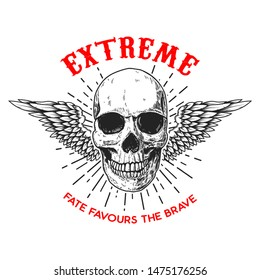 Extreme. Poster template with winged human skull. Design element for poster, logo, label, sign, badge.