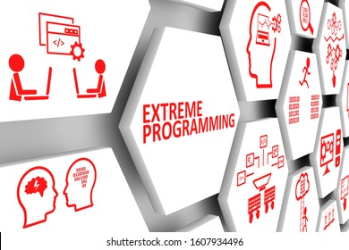 EXTREME PROGRAMMING concept cell background 3d illustration