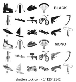 Extreme sport black icons in set collection for design.Different kinds of sports bitmap symbol stock web illustration.