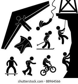 Extreme Sport Hang Glider Bungee Jump Rock Climbing Skating Icon Symbol Sign Pictogram