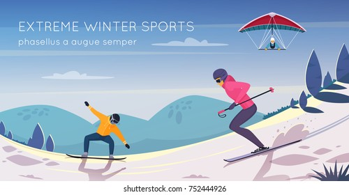 Extreme sports activities flat composition poster with snowboarding skiing and kitesurfing against mountains background  illustration