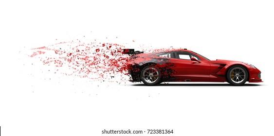 Extreme super sports car - paint dissolving effect - 3D Illustration
