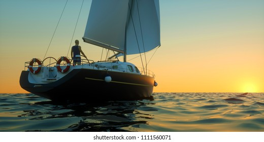 Extremeley detailed and realistic high resolution 3D Illustration of a man sailing towards sunset at the sea