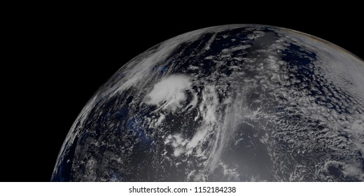 Extremeley detailed and realistic high resolution 3D illustration of Hurricane Hector approaching Hawaii. Shot from Space. Elements of this image are furnished by Nasa.